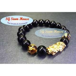 Gold Dragon (金龍) / 10mm Black Onyx with Gold Om Mani Padme Hum (六字真言) beads