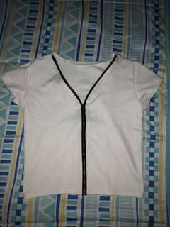 White Crop Top with Zipper