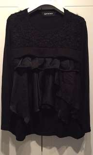 New Gomme black ruffle top