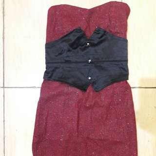 Preloves Dress Kemben Merah Pita Hitam Fit to L kcl Mat Katun Tebel
