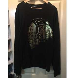 Men's Carre Black and Gold Sweatshirt - Size L