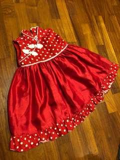 Red Polka Dots Cheongsam Dress for Girl