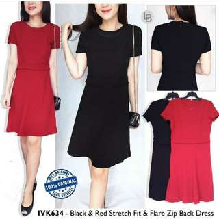 IVANKA TRUMPH Black & Red Stretch Fit & Flare Zip Back Dress