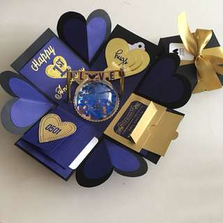 Explosion box with personalised photo shaker, 4 waterfall in navy & gold