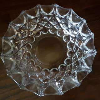 Vintage heavy cut glass ash tray large