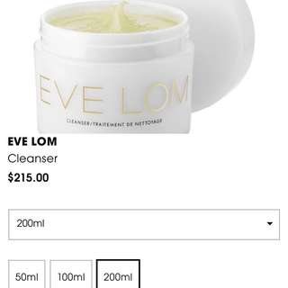 20% OFF Eve Lom Cleanser 200ml Size
