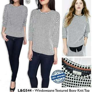 Lou & Grey Windowpane Textured Boxy Knit Top