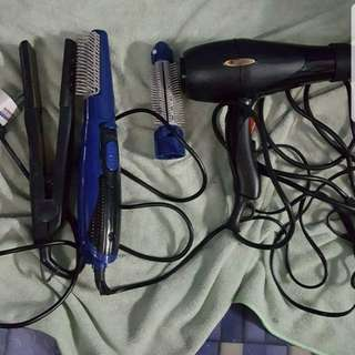 Hair iron and hair blower