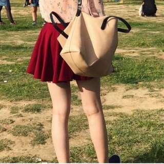 酒紅彈性傘裙
