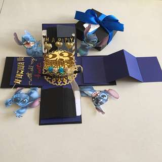 Stitch explosion box with cake , 8 waterfall and pull tab in navy & gold