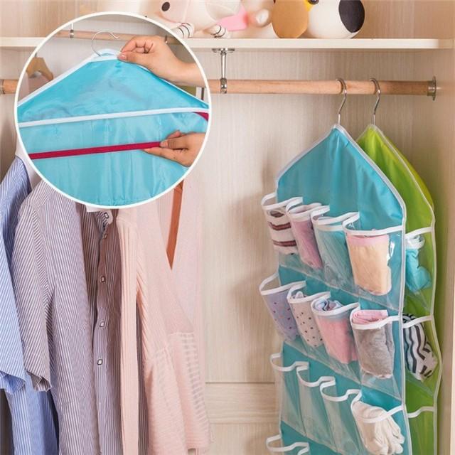 16格透明衣櫥掛袋/牆掛/立體式掛袋/置物收納袋/衣櫥懸掛儲物袋/雜物掛袋