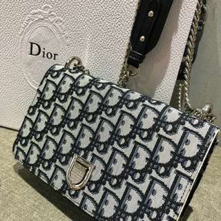 Dior Denim Monogram Sling Black
