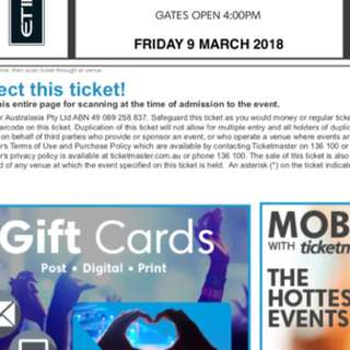 2x Ed Sheeran melbourne tickets