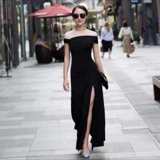 Off shoulder black evening dress