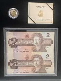 加拿大2元硬幣及2元雙連紙幣套裝