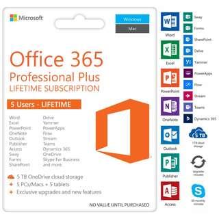 Office 365 + Office 2016 + 5 TB Cloud Storage (Onedrive)