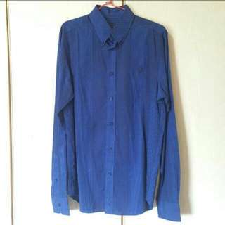BEN SHERMAN Regular Fit Long Sleeved Blue Shirt