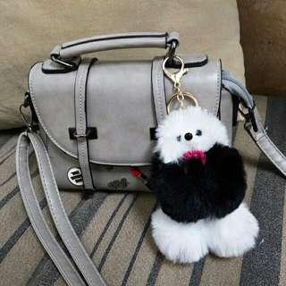 poodle dog furball keychain