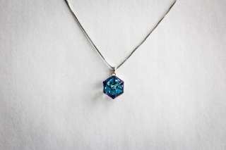 Blue Cube Silver Necklace