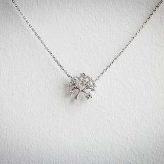 Crystal Tree Silver Necklace