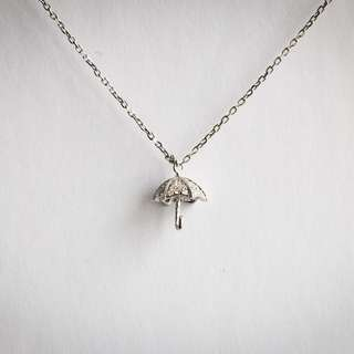 Crystal Umbrella Silver Necklace