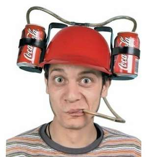 懶人吸管 啤酒帽 可樂帽 頭盔帽