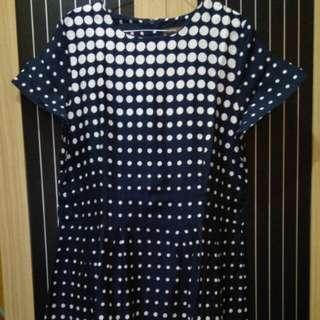 EPRISE Short Dress Blue Navy Polkadot