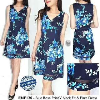 ENFOCUS Blue Rose Print V Neck Fit & Flare Dress