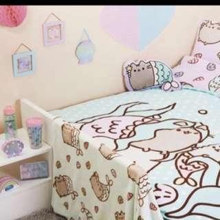 Brand New Latest Pusheen Mermaid Primark Home Lush Throw Blanket (character home decor baby blanket cat star)