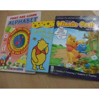 Disney Winnie Pooh story books & Point and Learn  Alphabet Book. 3 books 1 price.