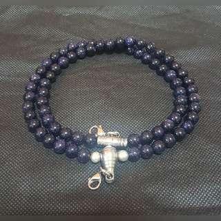 Sold - Good & Nice Sky Blue Sandstone beads 2 hooks necklace