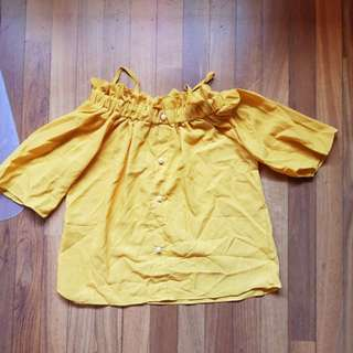 Mustard yellow off shoulder blouse