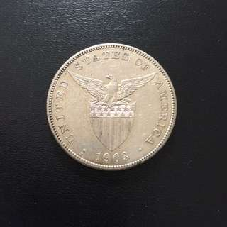 USA Philippines 1903 S One Piso silver coin