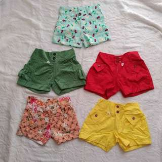 Cute Shorts Bundle of 6 for Baby Girls 3 to 12 months
