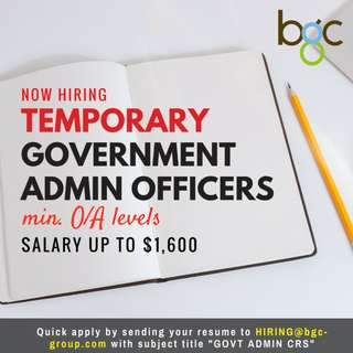 Temporary Government Admin Officers wanted