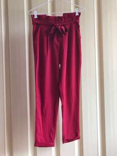 Cigarette High Waisted Pants (Red)