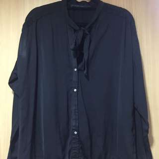 Black LongSleeved Silk polo