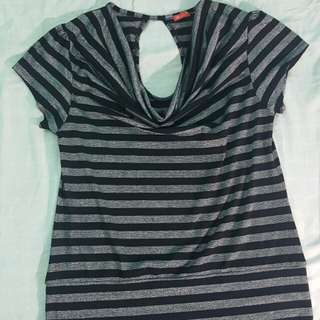 Black and Silver striped blouse