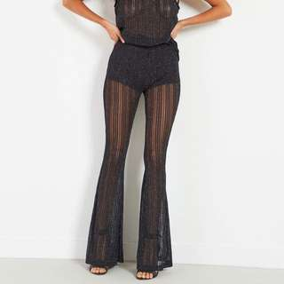 BLACK SPARKLE FLARE PANTS