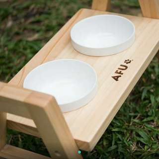 【AFU】御用 2口原木餐桌 碗架 貓碗架 寵物 碗架 狗碗架