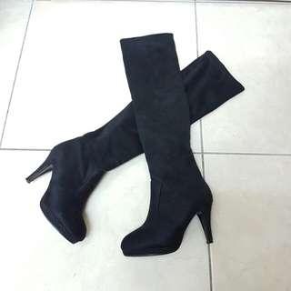 23.5 麂皮絨長靴高跟靴 雕花皮面牛津鞋平底鞋低跟鞋 英倫風 黑 棕 咖