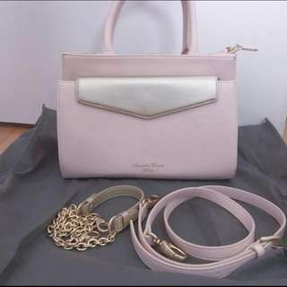 日本限定 兩袋款 超值 Samantha Thavasa Deluxe pink handbag with gold shoulder bag - two bags 粉紅色手袋連金色小包 可分折
