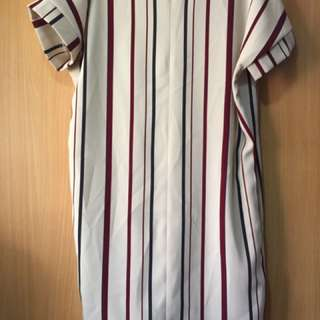 White and Red Striped Office Dress