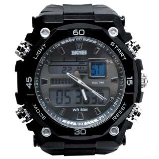 SKMEI Jam Tangan Sporty Digital Analog Pria - AD1092 - Black with White Side