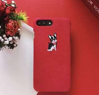 🔘 IPhone - 燈芯絨刺繡狗狗