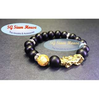 Gold Pixiu (金貔貅) / 10mm Frosted Onyx with Gold Foil & Bling Bling