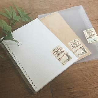 INSTOCK bn muji transparent binder + free 10 sheets muji grid papers