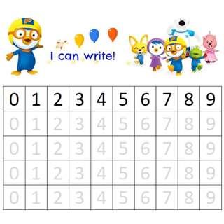 Pororo: English name, Chinese name, Number, ABC alphabet writing worksheets