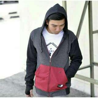 jaket zipper hoodie maroon kombi
