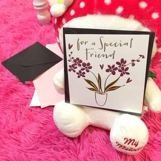 Greeting Card For A Special Friend Friendship Love Wishes Colleague Art Calligraphy Cursive Letter Gloss Paper Emboss